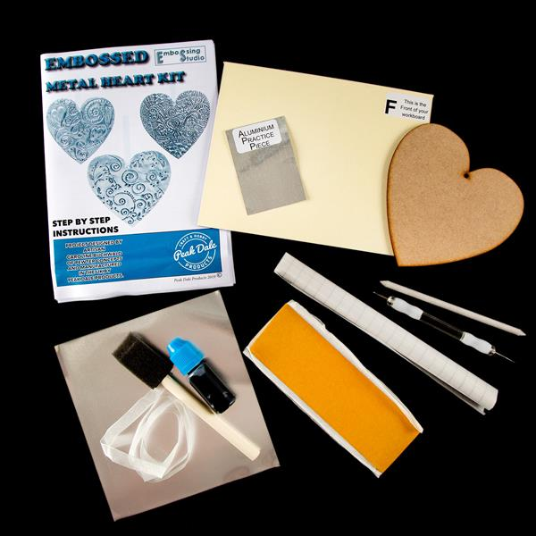 Peak Dale Products Heart Kit - MDF Heart, Aluminium, Ribbon, Paint, Tools &  Patterns