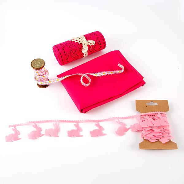 Avid Crafts Easter Bundle - Floral Trim, Lace Roll, Bunny Felt & 1 Metre  Fabric