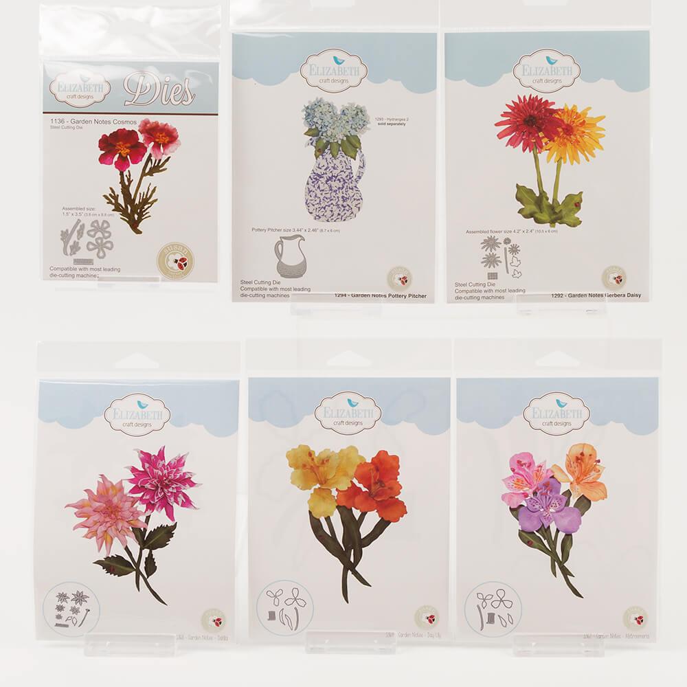 Elizabeth Craft Designs Set Of 5 Garden Notes Flower Die Sets With
