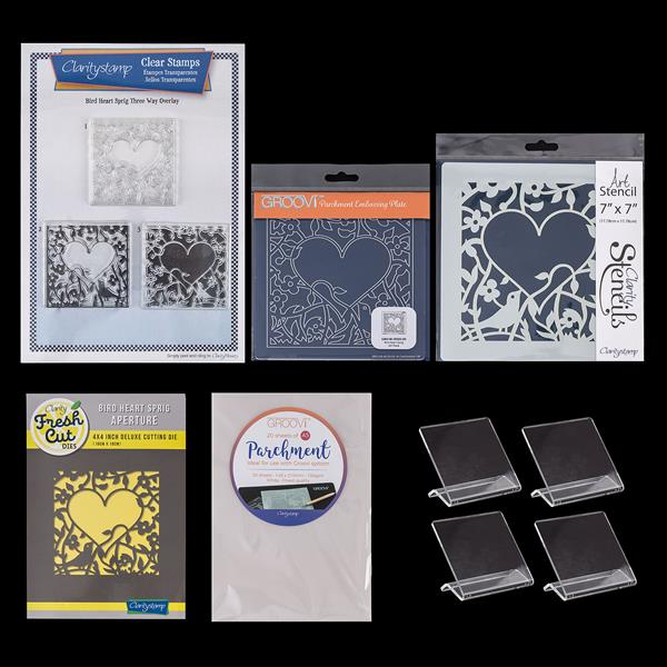 Clarity February Craftalong Collection - Die, Stamps, Mounts, Plates and  Parchment with Free Stencil