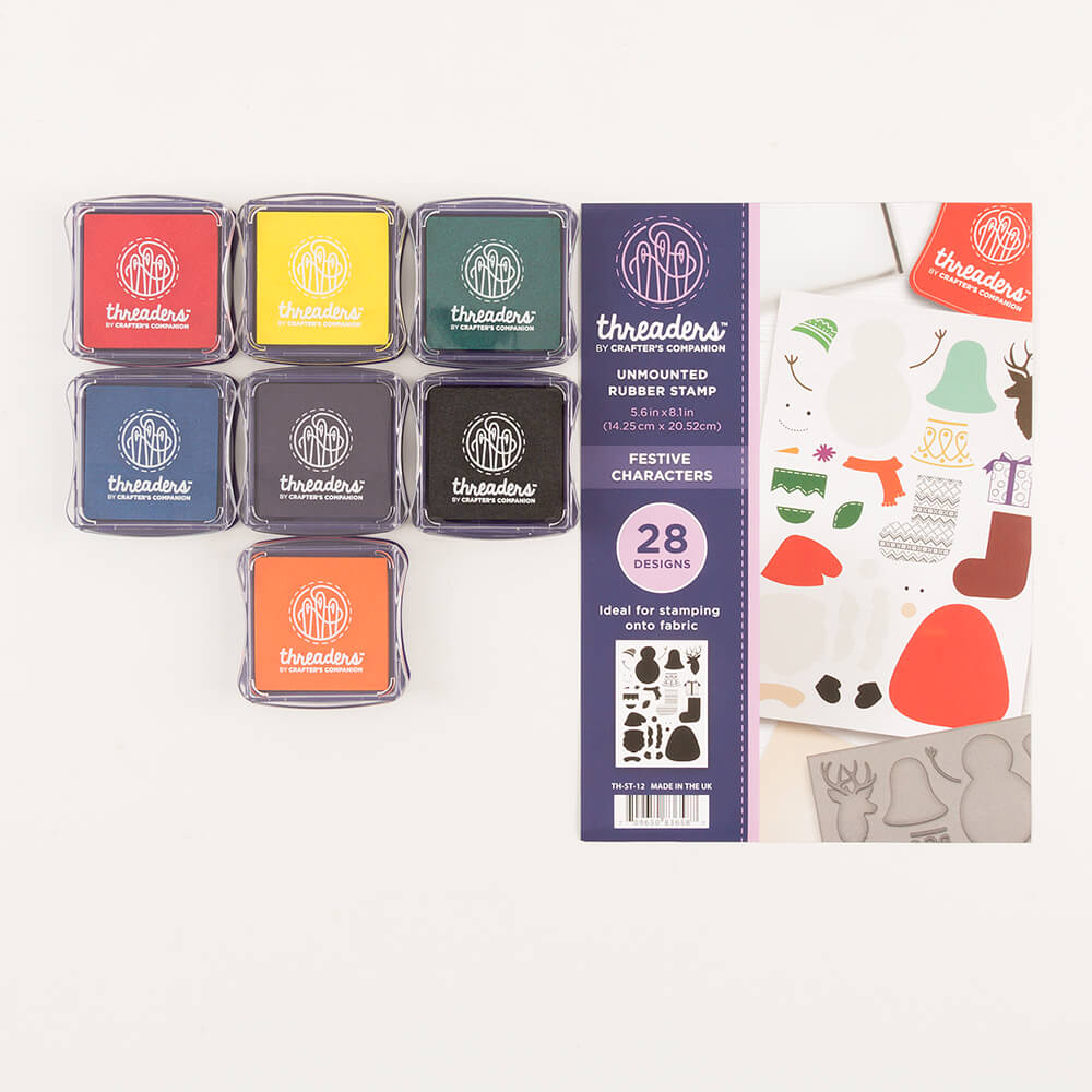 Threaders Set Of 7 Fabric Ink Pads Complete With A5 Rubber Stamp