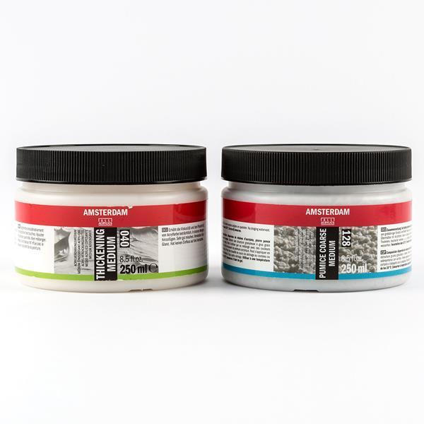 Amsterdam Thicken & Texture - 250ml Acrylic Thickening & 250ml Pumice  Medium Coarse