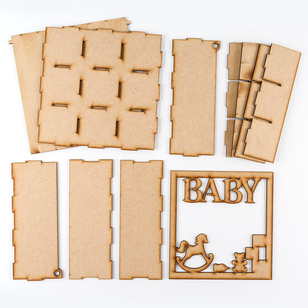 Daisys Mdf Box With Baby Frame Lid 21x21x8cm