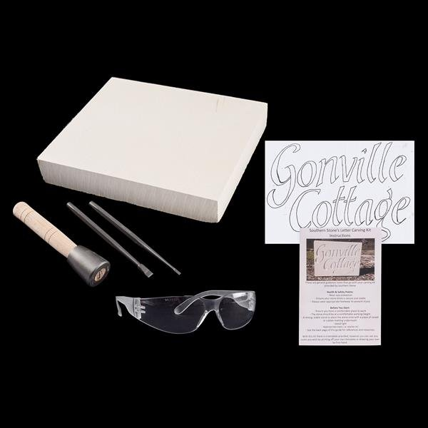 Southern Stone Advanced Lettering Kit - 1 x Stone Block, 2 x Chisels, 1 x  Hammer & Instructions