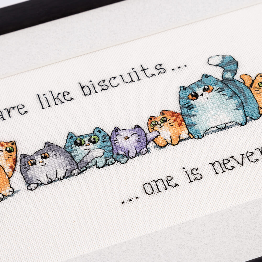 Cats are like Biscuits Heritage Crafts Cross Stitch Kit