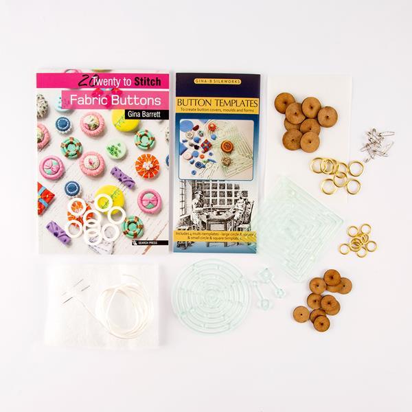 Gina-B Silkworks Fabric Buttons Bundle - Button Templates, Materials &  Signed Book