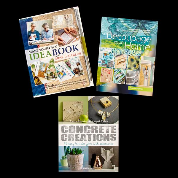 Search Press 3 X Crafting Books Decoupage Your Home Concrete Creations Make Your Own Idea Book