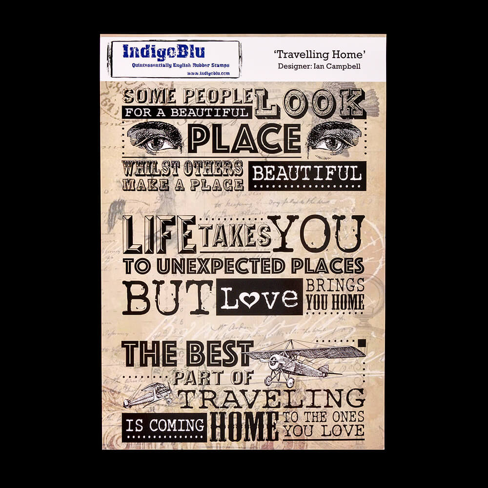 IndigoBlu A5 Red Rubber Stamp Travelling Home Ian Campbell 892125