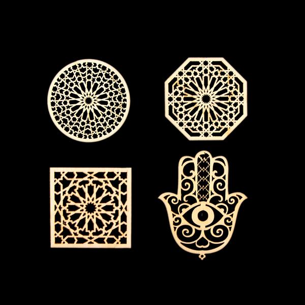 Tonertex 4 x Die-Cut Wooden Geometric Moroccan Shapes