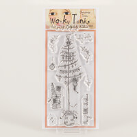 Which Craft? Wonky Tonk Christmas Trees DL Stamp Set -  A Jolly H-004156