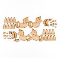 Karacter Krafts Set of 4 Cute Hanging MDF Animals-011120