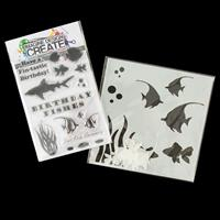 Imagine Design Create Birthday Fishes A6 Stamp Set and Fishes 6x6-014234