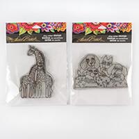Stampendous 2 x Laurel Burch Stamps - Playful Pups & Giraffes-040676