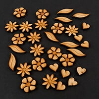 Polly Allsorts MDF Embellishments - 32 Pieces inc Leaves, Hearts -042639
