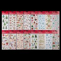 16 Packs of Assorted Christmas Stickers - Snowmen, Angels, Bauble-042857