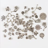 Impressions Crafts 40g Assorted Tibetan Style Flower Charms-044610