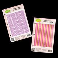 JustRite® 2 x Background Stamps - Stitched Ribbon & Vintage Wallp-049843