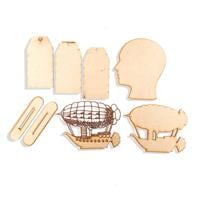 Daisy's Set of 8 MDF Steampunk Pieces - Airship, Head and Tags-050239