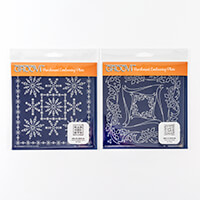 Groovi Plates Set of 2 A5 Squares - Tina's Holly Frame and Snowfl-055585
