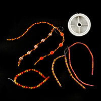 Orange Bead Collection - 154cm Total & 50m Metallic Grey Tiger Ta-056132