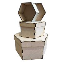 Daisy's MDF Set of 3 Hexagon Shaped Storage Boxes-056956