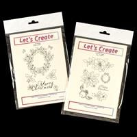 Let's Create 2 x Clear Stamp Sets - Festive Wreath & Christmas Fl-057400