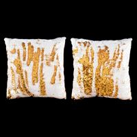 Set of 2 Magic Sequin Cushions - White to Gold Collection - 40x40-063423