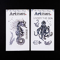 Bee Crafty Regular Art Stamps Seahorse & Octopod - 10 x Stamps To-070863
