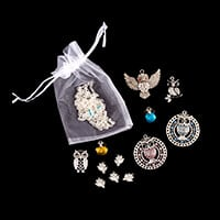 Aldridge Crafts 12 x Mixed Owl Pendants with 3m of Silver Coloure-071981