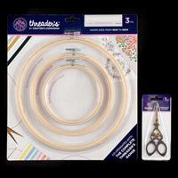 Threaders Wooden Embroidery Hoop Set & Embroidery Scissors-073185