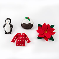 Sew Mine Box Christmas Pack of 4 Brooches-077599