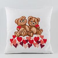 Permin Teddy Bear Hearts Aida Cushion Kit - 40cm x 40cm-083918