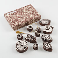 Colouricious Pomegranate Delight - 11 Hand Carved Wooden Blocks w-089809
