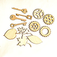 Inventors Asylum Pack of 12 Laser Cut Shapes - Cogs, Leaves & Key-091543