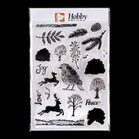Hobby Art Janie's Collection - Lino Cut Christmas A5 Clear Stamp -100210