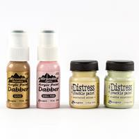Ranger 2 x Pots of Crackle Paint & 2 x Dabber Paints In Assorted -107478