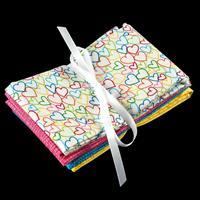 Daisy & Grace Multi Coloured Heart Fabric Bundle - Includes 4 x F-124230