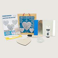 Peak Dale Products Pewter Heart Kit- MDF Heart, Aluminium, Ribbon-127876