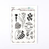 Chocolate Baroque Punky Hearts A5 Stamp Sheet - 9 Images-139577