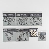 """Artistic Flair 7 Piece Set - 5 x 6""""x6"""" Stencils, 4""""x4"""" Stencil an-145596"""