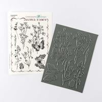 Chocolate Baroque Harebell Butterfly A5 Rubber Stamp Sheet - 8 Im-147699