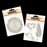 StudioLight 2 x Grunge Die Sets - Feather and Spiral - 6 Dies-156961