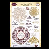 JustRite® 1 x Stamp Set - Lace Vintage Labels Three - 22 Stamps T-159741