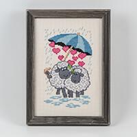 Permin Sheep Hearts & Umbrella Aida Cross Stitch Kit - 15cm x 22c-188057