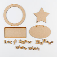 Karacter Krafts 4 x Shaped Plaques & Christmas Word Phrases-211140
