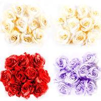 Craft Buddy 40 x Premium Lace & Fabric Roses - Lilac, Red & Cream-219525