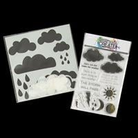 Imagine Design Create Weather Words A6 Stamp Set and Clouds 6x6