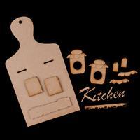 Karacter Krafts Hanging Chopping Board with Shelf & Kitchen Wordi-241882