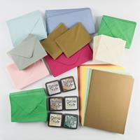 Paper and Ink Assortment - 6 x Ink Pads, 300 Envelopes - Assorted-248373