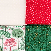 Daisy & Grace Christmas Themed 4 x Fat ¼ Bundle 100% Cotton = 50x-258872
